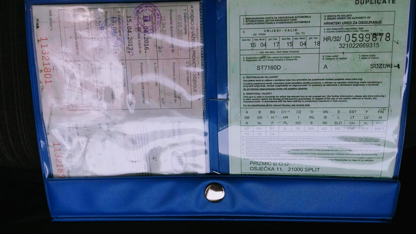 Croatia Car rental - Cross-Border card detail explained